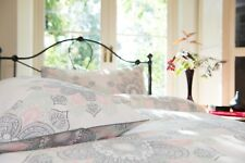 100% Cotton Flower Drop Design Duvet Cover Set Modern White Background Double