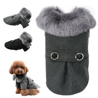 Elegant Dog Coat Woolen Fur Collar Puppy Pet Clothes Winter Warm Jacket 5 Sizes