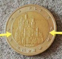 """2 Euro Münze (Fehlprägung❕) Deutschland 2012 """"Schloss Neuschwanstein"""" BAYERN J"""