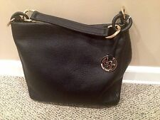 NWT MICHAEL KORS $348 Large ID Chain Hobo Shoulder Bag Leather Black-Dust Bag!