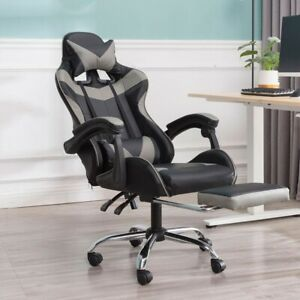 PC Gaming Chair Computer Swivel High Back Ergonomic Racing Leather Office Gray