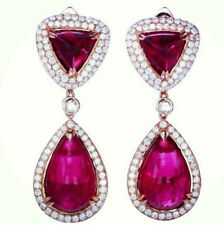 16Ct Pear Cabochon Ruby Simulnt Diamond Chandelier Earrings Rose Gold Fns SIlver