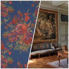 NEW Designer Floral Needlepoint Inspired Upholstery Fabric- Blue & Roses