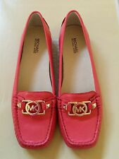 Size 9.5 New Michael Kors Fulton Watermelon Pink Leather Moccasins Loafers Flats