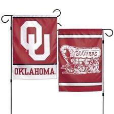"OKLAHOMA SOONERS TEAM GARDEN WALL FLAG BANNER 12"" X 18"" 2 SIDED NCAA"