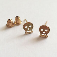 Mini Skull Stud Earrings Brushed Gold - Boxed Great Jewellery Earring Gift
