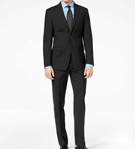 $850 Calvin Klein 46 L Men Black Wool Slim Fit Check Suit Jacket Blazer Pants