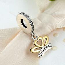 Princess Silver CZ European Charm Beads Fit 925 Pendant Necklace Bracelet