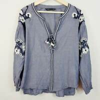 ZARA  | Womens Boho Embroidered Blouse Top  [ Size S or AU 10 / US 6 ]