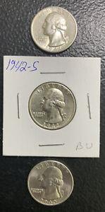 1941S, 42S & 43S 25C / Nice BU Washington Quarters / Very Nice & *No Reserve!