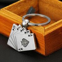 Salings Creative Silver Metal Key Chain Ring Gift Poker Keychain Keyfob Keyrings