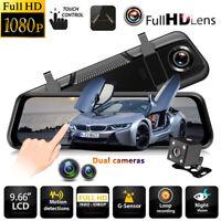 "10"" Dual Lens Car DVR Dash Cam Front and Rear Mirror Camera Video Recorder 1080P"