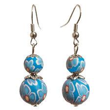 Boucles D'oreilles femme Pendantes fimo motif fleurs 2 perles bleu ciel et clair