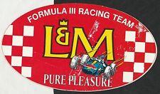 Original Vintage L&m Fórmula III 3 F3 período DE CARRERAS PEGATINA AUTOCOLLANT ADESIVO