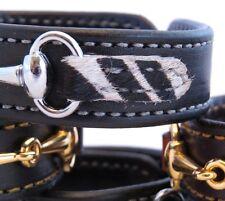 Black Leather Faux Fur Zebra Print Silver Horse Snaffle Bit Bracelet Equestrian