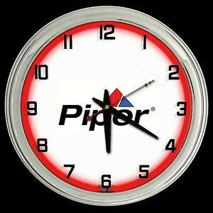 """16"""" Piper Aircraft Airplane Sign Lock Haven PA Sign Red Neon Clock"""