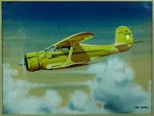 Beechcraft Model 17 Airplane Vintage illustration Art Deco Watercolor Ted Grohs