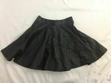 Top Shop Womens Solid Black Faux Leather High Waist Mini Skirt Flare Size 2 Xs