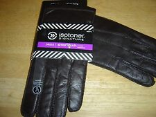 """NEW MENS ISOTONER SIGNATURE BROWN DRESS LEATHER """"SMARTOUCH"""" GLOVES SIZE L $90"""