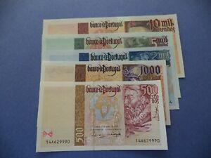 PORTUGAL  SET  5  NOTES  500 TO 10.000 ESCUDOS  1996/7   UNC