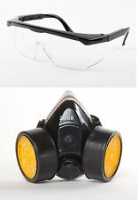Respirator Mask + Eye Goggles for Industrial Gas Chemical Anti-Dust Paint Guard
