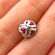 925 Sterling Silver Chamilia Enamel Heart Design Bead Charm