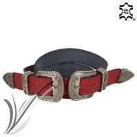 Cintura rossa doppia fibbia donna pelle vera cowboy cinta western fashion 2020