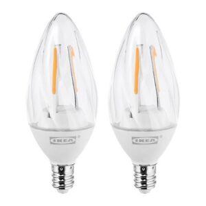 Ikea New 603.926.27 RYET 2W LED bulb E12 200 lumen 2 Pack Warm White 2700 Kelvin