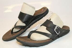 Merrell J02390 Around Town Womens 10 41 Black Leather Thongs Sandals Flats Shoes