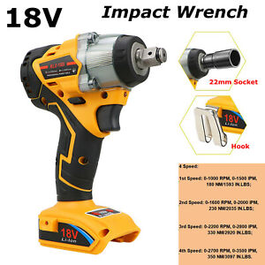 """Cordless Brushless Impact Wrench Drill Replace for Dewalt 18V XR 1/2"""" 4 Speed"""