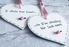 Beautiful Wedding Present ~ 2 Love Hearts ~ His & Hers ~Bride & Groom ~ Keepsake