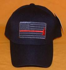 Thin Red Line USA Flag Fire Fighter With Axe Embroidered Black Ball Cap.