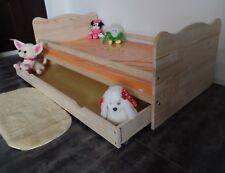 Kinderbett Juniorbett Jugendbett Komplett Set 70x140 Schublade MASSIV Gravur