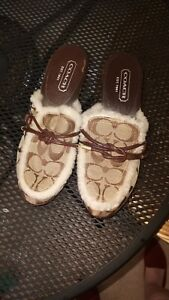Coach Women's Sable Slip-On Clogs Heels Shoes Size 5 Side Buckle Brown/Khaki