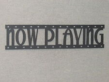 NOW PLAYING Movie Film Strip Wood Wall Word Sign Art Decor Movies Reel