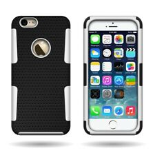 For Apple iPhone 6 - Protective Hybrid Mesh Case Hard Soft Cover - White & Black