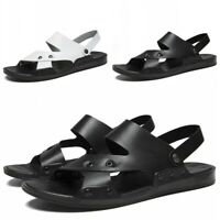 38-46 Men Slip On Summer Open Toe Ankle Strap Sandal Slippers Beach Shoes Flat D