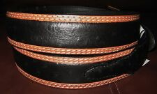 WESTERN BELT 3D UNISEX OSTRICH STAMPED BLACK/TAN RODEO CUTTING REINING SIZE 32