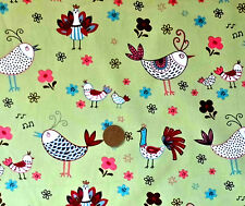 FRENCH HENS ON SAGE GREEN - 100% COTTON FABRIC F.Q.'S