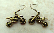 "MOTORCYCLE BIKER EARRINGS - ""DIRT BIKE"" - GREAT DETAIL! Off Road Cycle Jewelry"