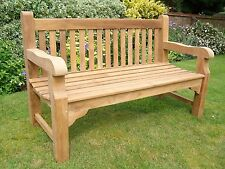 "MEMORIAL 5ft HEAVY TYPE ASSEMBLED MEMORIAL ""A"" GRADE TEAK HARDWOOD GARDEN BENCH"
