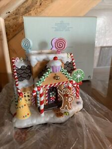 PartyLite Bisque Porcelain Gingerbread Christmas Tealight House Candle Holder