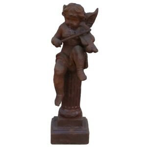 Schöne Engelfigur Podest Gusseisen Garten Skulptur Geige Putte Rost Flügel