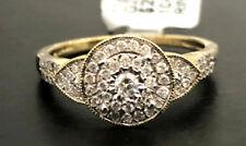 10k Yellow Gold Vintage Double Halo Split Shank Diamond Wedding Engagement Ring