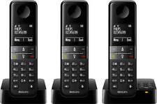 Philips D455 Trio D4553B Schnurlos Telefon Set mit AB Schwarz -