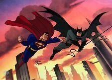 Bruce Timm rare Batman & Superman ltd Ep 25/25 cel Signed Worlds Finest Wb Coa