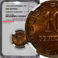 Mozambique PORTUGUESE Bronze 1942 10 Centavos NGC UNC DETAILS 1 YEAR TYPE KM# 72