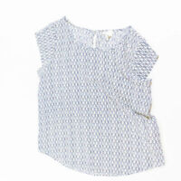 Joie Rancher Blue White Micro Print Pattern Silk Short Sleeve Blouse Shirt Top L