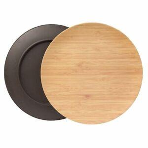 4x Bambus Geschirr Teller Servierteller flach rund wiederverwendbar Holzoptik