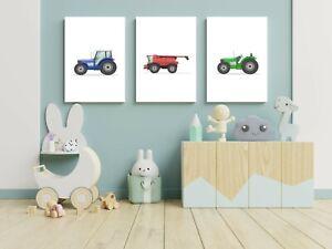 TRACTOR (SET of 3) farm nursery art prints - wall art poster childrens kids room